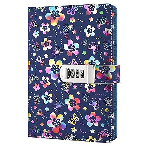 nainaiwu cuaderno diario registro diario con candado (hermosa flor piel sintética escritura Bloc de notas A5Tamaño libro diario de viaje para niñas y niños., color Colorful flower 🔥