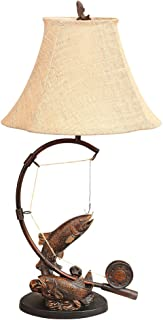 BLACK FOREST DECOR Fly Rod Trout Rustic Table Lamp - Lodge Lighting