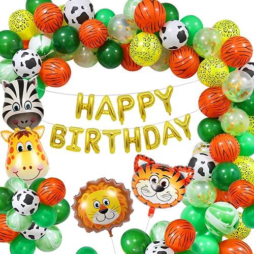 Selva Decoraciones Cumpleaños de Fiesta, Globo de Fiesta de Feliz cumpleaños Safari con Globos de látex, Globo de Animales del Bosque