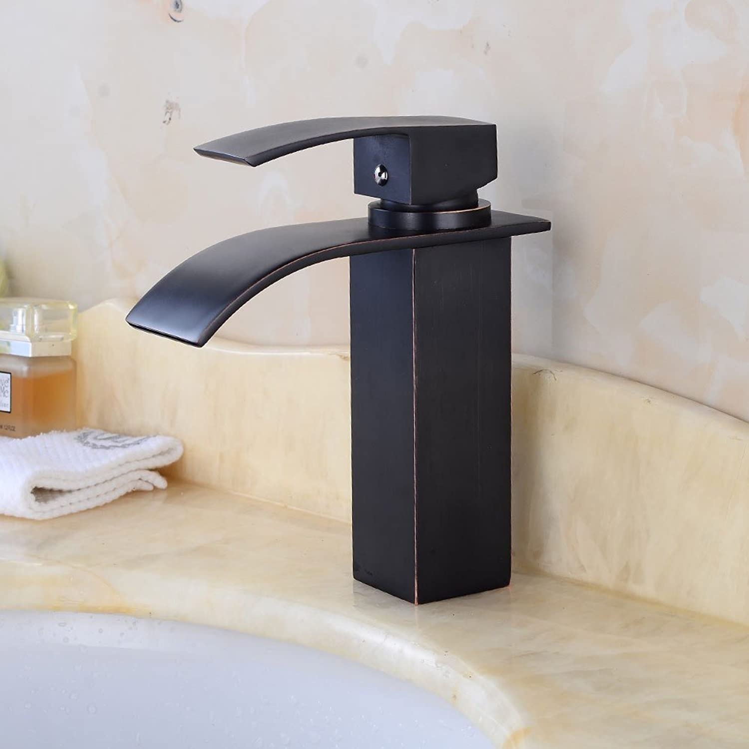 Rmckuva Bathroom Sink Taps Bathroom Retro Waterfall Effect Brass Mixer Black Curved Mouth