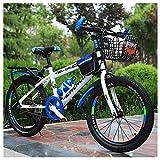 Bicicleta De Montaña para Niños, 22 Pulgadas, Marco De Acero De Alto Carbono Engrosado con Marco De Asiento Trasero + Canasta, Botella De Agua Y Bolsa,Azul