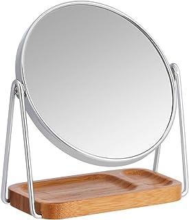 Amazon Basics Miroir grossissant sur pied à plateau en bambou carré - x1/x5