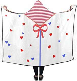 Hooded Blanket Heart Graphic Lollipop Sweetness Food Sweet Blanket 60x50 Inch Comfotable Hooded Throw Wrap