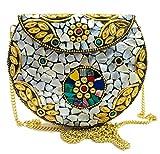 Gauri MUJER bolso de fiesta para niña Embrague de metal dorado Bolso de concha embrague de mosaico de metal Monedero monedero Caja de boda