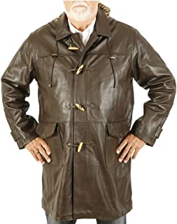 Size 6XL 3/4 Length Brown Leather Duffle Coat