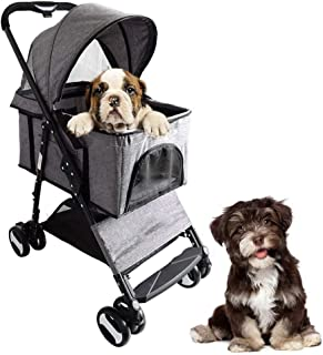 Pet stroller Pet Stroller,Small Pet Stroller,Foldable Dog Cart,Pet Supplies,Collapsible Pet Stroller, 2 in 1 Pet Stroller for Small and Medium Cats and Dogs (Color : Gray)
