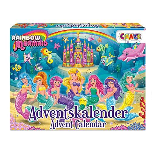 CRAZE Adventskalender RAINBOW MERMAID Kinder Weihnachtskalender 2021 Meerjungfrau für Mädchen Jungen Spielzeugkalender Tolle Überraschungen 24713