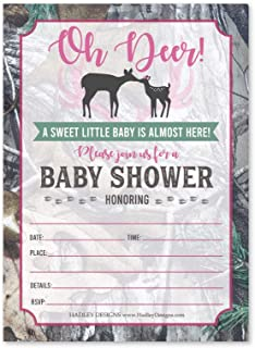 25 Pink Deer Baby Shower Invitations, Sprinkle Invite for Girl, Coed Forest Buck Gender Theme Reveal, Cute Camouflage Anim...