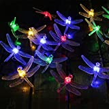 Keeda 20 Multi Coloured LED Dragonfly Waterproof String Fairy Decorative Lights Solar Powered for Outdoor, Garden, Patio, Christmas Party (Multi)