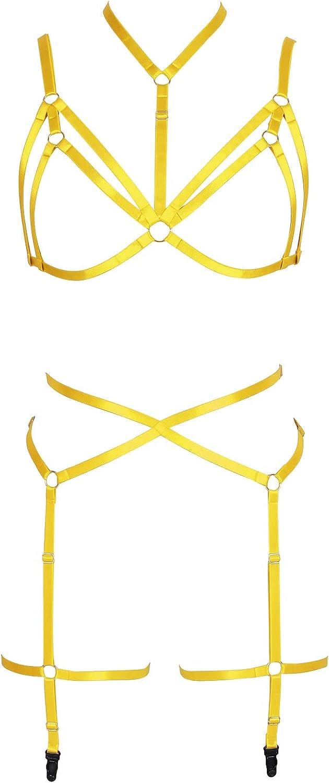 Garter belt set Full body harness for women Lingerie cage Gothic Punk bra Plus size Festival rave Halloween Chest strap