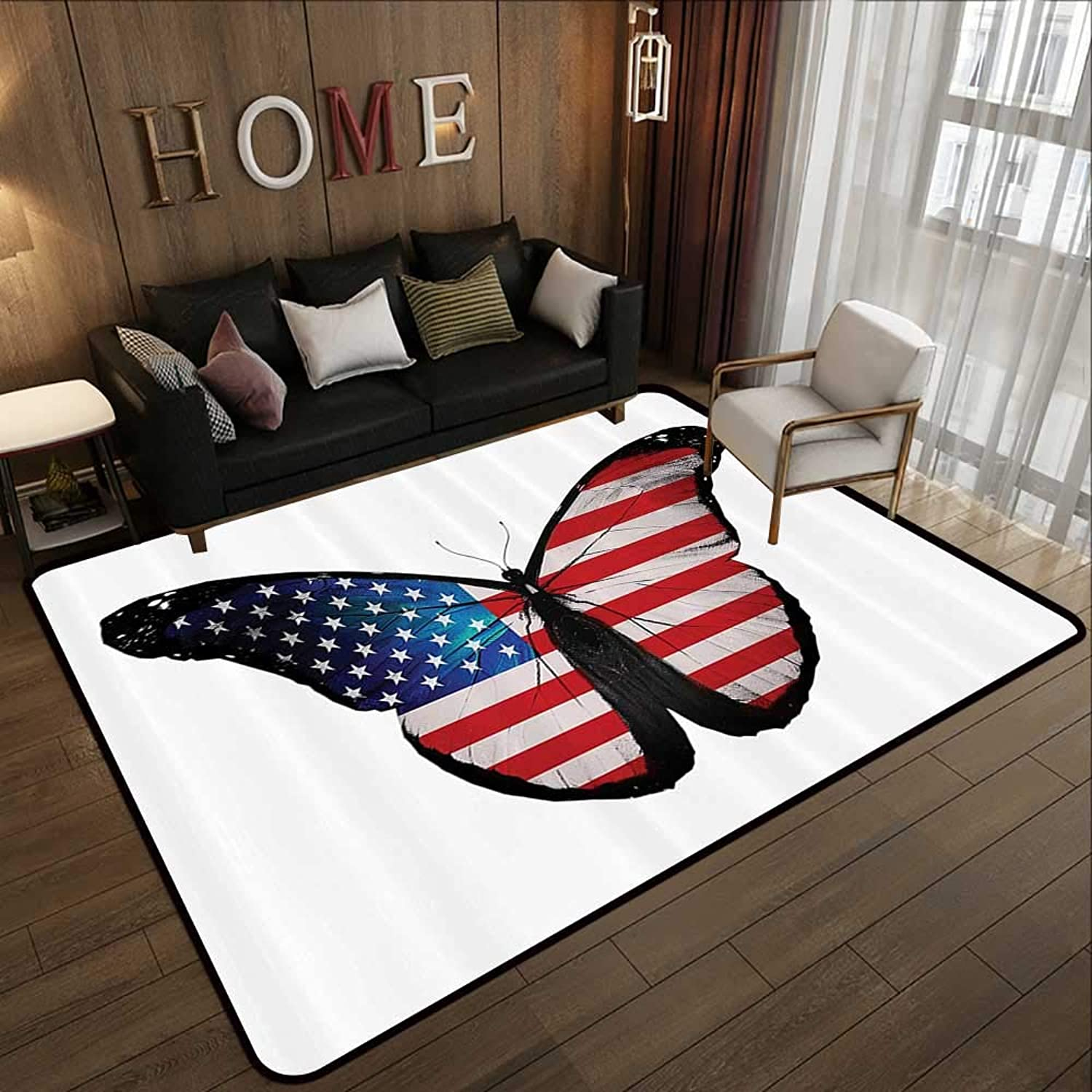 Modern Area Rug with Non-Skid,Americana Decor Collection,American Flag as a Large Butterfly Morpho Wings July Summer Natural Collection Image,Cobalt R 47 x 59  Indoor Super Absorbs Doormat