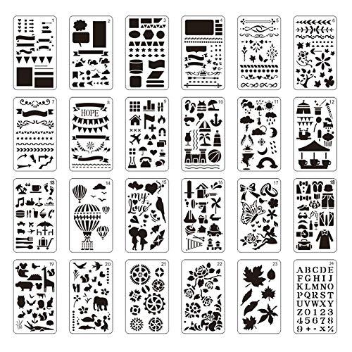 Knowled 24 Stück DIY Schablone Buchstaben und Zahlen Schablonen flexibel und wiederverwendbar Mandala Schablonen für Notizbuch, Tagebuch, Scrapbook 10,2 x 17,8 cm