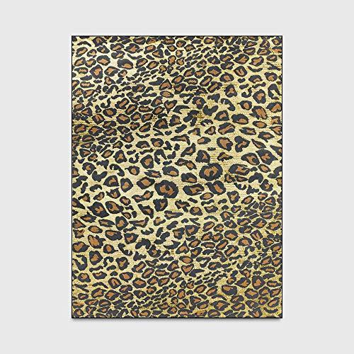 Alfombras De Estilo Moderno Leopardo Amarillo Marrón Cocina Sala De Estar Dormitorio Mesita De Noche Alfombra Alfombra Hogar Piso Shaggy Shag Pile (160 * 230Cm),45 * 75cm
