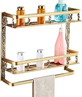 ZHAOHUI 浴室用ラック スペースアルミ 壁掛け式 換気 耐湿性 タオル掛け 中空デザイン、 パンチ取り付け、 3色 (色 : ゴールド)
