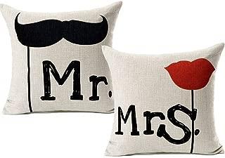 Blanc Déco Monsieur et Madame Coussin Mme Bonheur