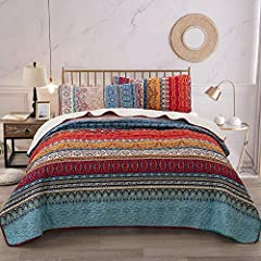 Bohemian Quilt Set Queen: MEASURES- Quilt-(90*96 inches), 2 Pillowcases( 20*28inches) . Perfect gifts choice for your families and friends. Because of random clipping, so the pillowcases may be different pattern. Bohemian Quilt Set Queen:HIGH QUALITY...
