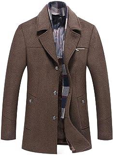 moonWANG Men's Wool Trench Coat Mens Coat with Front Pocket Scarf Winter Fleece Overcoat for Men