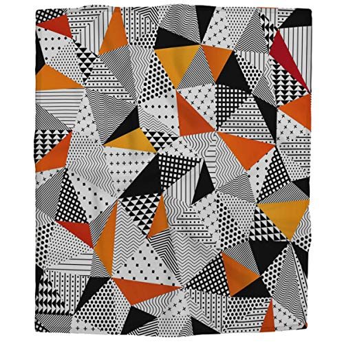HOSNYE Triangle Fleece Throw Blanket for Girls,Boy,Baby,Kids Fashionable Polygonal Backdrop with Black and Orange Panes Cozy Blanket for Bed, Couch, Car 30x40 Inches
