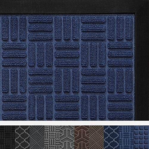 DEXI Door Mat Front Indoor Outdoor Doormat,Small Heavy Duty Rubber Outside Floor Rug for Entryway Patio Waterproof Low-Profile,17
