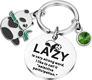 PLITI Funny Panda Charm Keychain Cute Pandas Gift Animal Lover Gift Lazy Is Very Strong Word. I Like To Call It Selective ...
