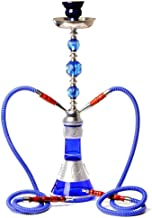 Shisha Hookah 53cm Double Pipe Hookah with Silicone Hose Ceramic Bowl for Club Bar Party,Blue