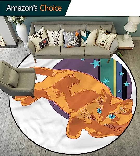橄榄球猫电脑椅地垫 Kitty On Starry Planet Earth 保护地板,同时确保地毯吸尘直径 59