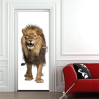 Sticker Porte Autocollants De Porte 3D Lion Lion Salon Chambre Porte Stickers Muraux Décoratifs Papier Auto-Adhésif Amovib...