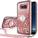 Silverback Case Compatible with Samsung Galaxy S8, Girls Women Moving Liquid Holographic Sparkle Glitter Case with Kickstand, Bling Bumper W/Ring Stand Slim for Samsung Galaxy S8 -RD