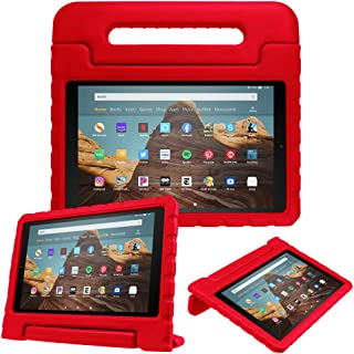 Fintie Case for All-New Amazon Fire HD 10 (Compatible with 7th and 9th Generations, 2017 and 2019 Releases) - Kiddie Series Shock Proof Light Weight Convertible Handle Stand Kids Friendly Cover, Red