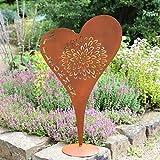 Country Garden Deko-Ständer Herz 'Willkommen' | mit Standfuß | Metall | edelrost | 67 x 39 cm