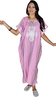 c646cdcda36 Moroccan Caftan Women Light Weight Linen Handmade with Embroidery Fits  Small To Large Cover-up