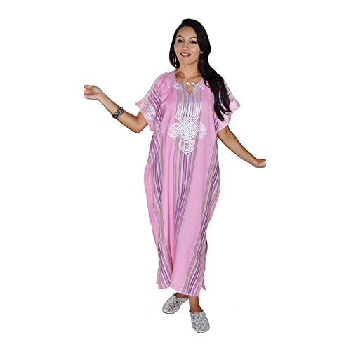 b9f0381aab Moroccan Caftan Women Light Weight Linen Handmade with Embroidery Fits  Small To Large Cover-up
