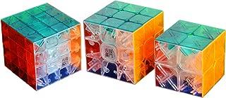I-xun Pack of 3 Speed Stickerless Magic Cube 2x2x2 3x3x3 4x4x4 Puzzle (Transparent)