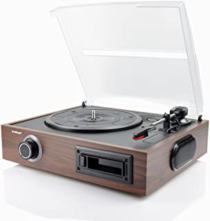 mbeat Wooden 2-in-1 USB Turntable Record Player and Cassette Digital Recorder Built-in Speakers
