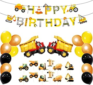 LIUYIJI Construction Party Supplies Kits, Dump Truck Theme Birthday Decoration Pack, Truck Themed Happy Birthday Banner, Cupcake Topper, Mylar Foil and Latex Balloons for Kids Party Baby Shower Decor