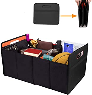 AsFrost Car Trunk Organizer Basket, Collapsible Foldable Auto Trunk Organizer Storage Bin Cubes, Portable Grocery Cargo Container for SUV, Vehicle, Truck, Home and Office, Black