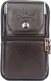 Dolity Universal Outdoor Leather Holster Waist Belt Bag Wallet Pouch Purse Phone Case With Zipper For IPhone X / 8/8 Plus / 7 Plus, Samsung Galaxy S8 / S7