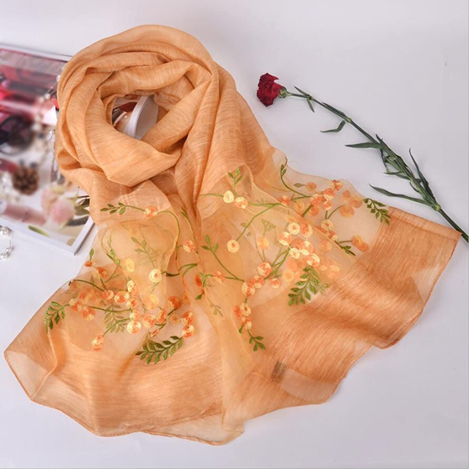 Woman shawl Women Scarf Flower Embroidered Lace Scarf Long Soft Wrap Shawl Stole Pashmina Home Decoration ( Size   8 )