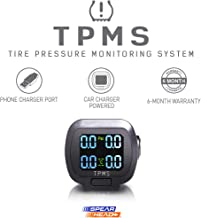 Installer Champ Spearhead TPMS Tire Pressure Monitoring System - Cigarette Lighter Plugin LCD Display w/Phone Charger USB & 4 External Sensors, 6 Month Warranty