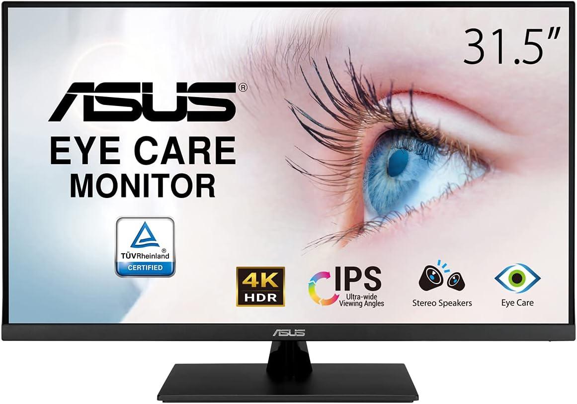 ASUS VP32UQ - Monitor Eye Care 31.5 pulgadas, 4K UHD (3840 x 2160, IPS, 100% sRGB, HDR-10, Adaptive-Sync, DisplayPort, HDMI, Antiparpadeo, Filtro de luz azul)