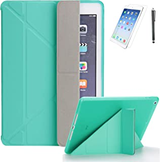 iPad 9.7 2018/2017 (6th, 5th) Generation Premium Smooth Ultra Origami Slim Lightweight/Soft Stand Protective Folding Case with Auto Wake/Sleep Feature with Bonus Screen Protector and Stylus(MintGreen)