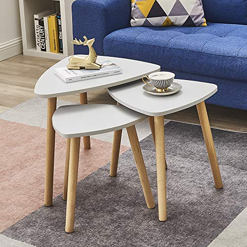 Panana Nest of 3 Tables Nesting End Side Coffee Table Telephone Bedside Sofa Table Drink Snack for Living Room Guest Reception Room Grey