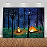 CHAIYA Enchanted Forest Camping Backdrop Forest Night Scene Photography Background Camping Backdrop Background for Camping Theme Party Photo Booth Banner Decoration 7x5ft 106