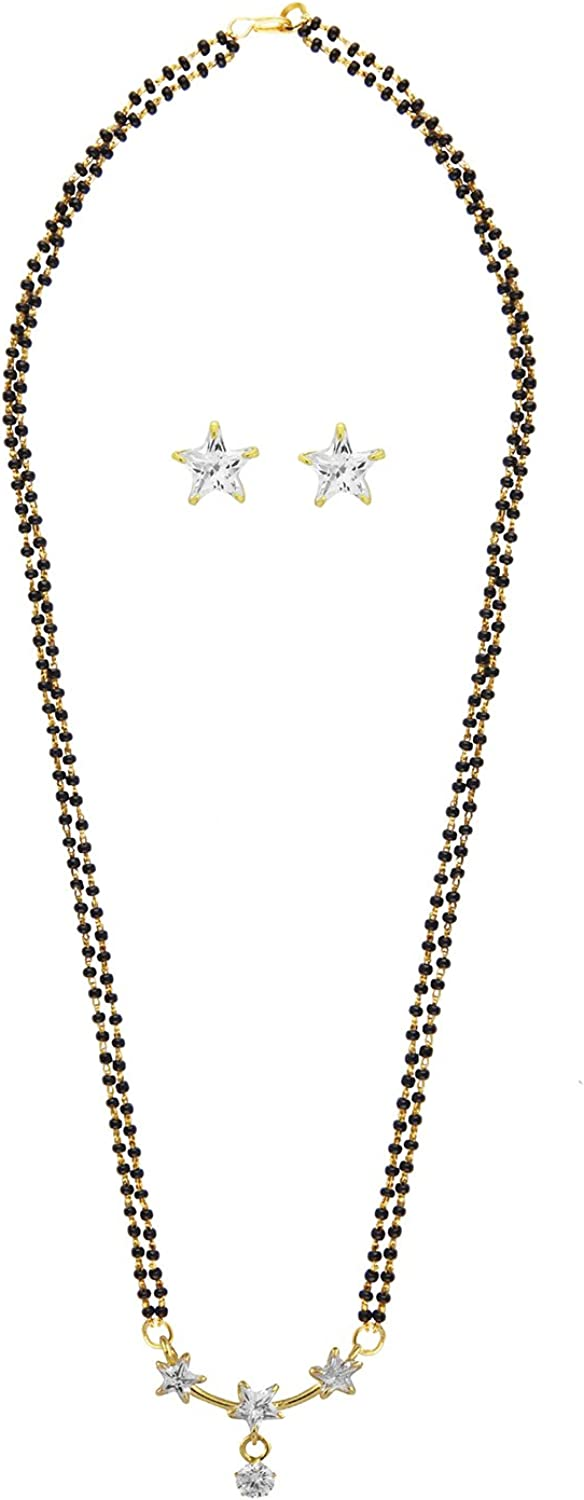 Efulgenz Gold Tone Indian Bollywood Ethnic American Diamond Traditional Mangalsutra Pendant with Chain and Earrings Jewelry for Womens