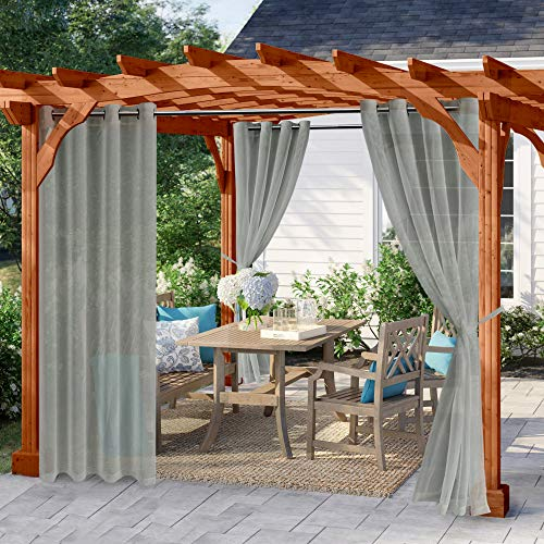 Hiasan Outside Curtain for Patio Waterproof Window Curtains Panels with Rustproof Steel Grommet Top and Tiebacks in Porch Pergola Cabana Gazebo Set of 2 Panels (W52 x L108,Gray)