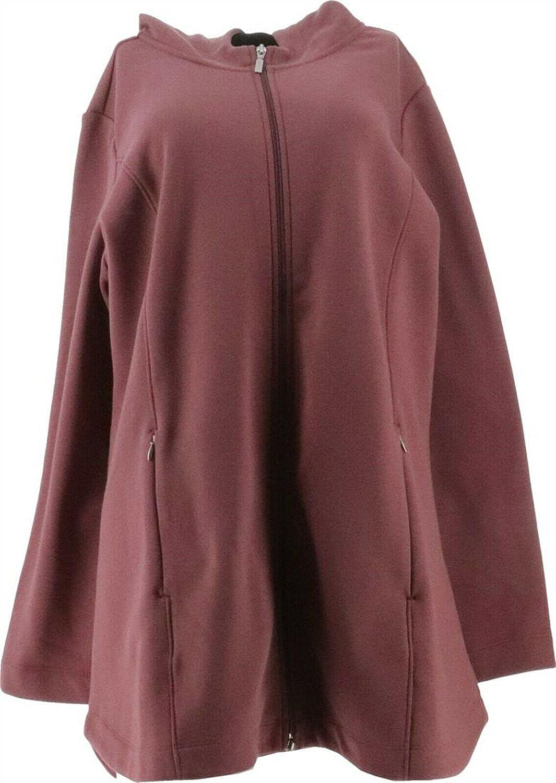 Denim& Co Active Fleece Back Jersey Zip Front Jacket A388880