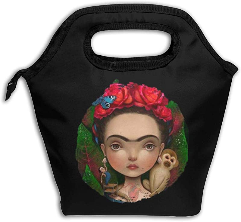 Large Capacity Lunch Bag Cooler Bag Frida Kahlo Waterproof Thermal Lunch Bag With Zipper