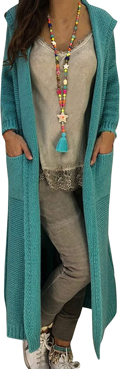 Hooded Sweater Coats for Women Open Knitted Front Long Cardigans Ranking 1 year warranty TOP9