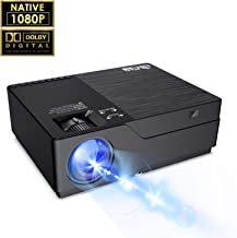 """JIMTAB M18 Native 1080P LED & Video Projector, 4500 Lux HD Projector with 300""""Display Support AV,VGA,USB,HDMI, Compatible with Xbox,Laptop,iPhone and Android for Academic Display (Dark Star)"""