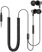 VantInter X1 Extra Long Cord Laptop Computer Earbuds with Microphone, Stereo Wired In-Ear Metal TV Headphones with Extension Coil Cable
